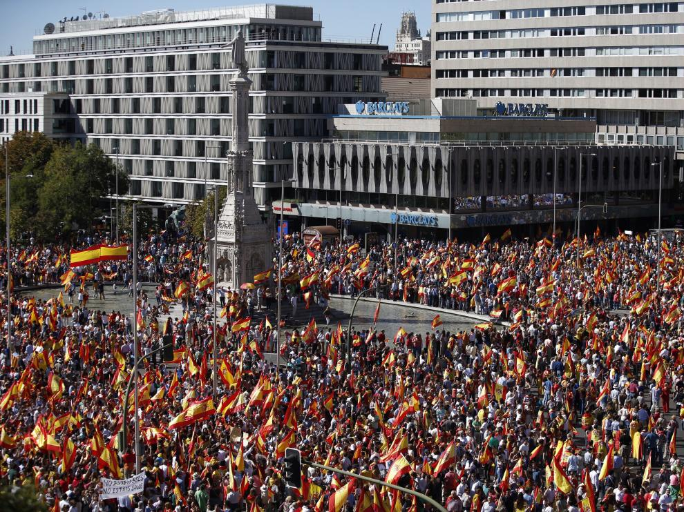 Imagen de la concentración de este sábado en la plaza de Colón.