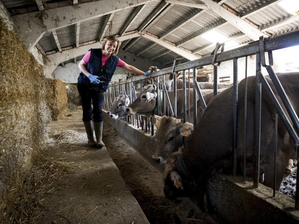 Olga Zúñiga atiende a las vacas en una explotación situada en las inmediaciones de Jasa.