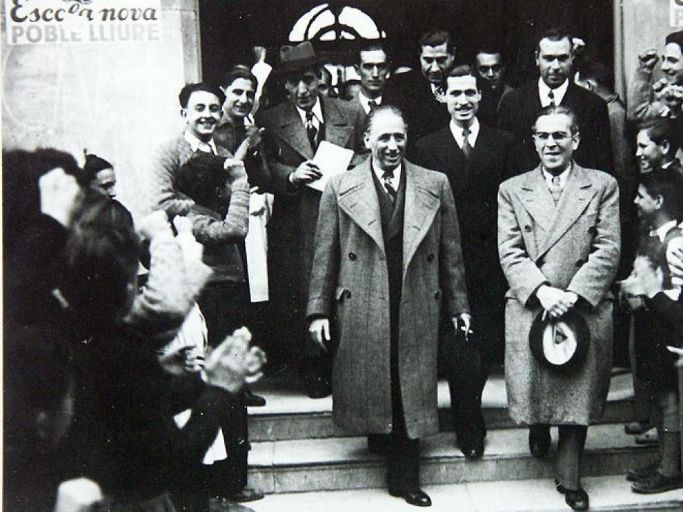 Companys -en la fila de abajo, a la izquierda-, en una imagen de marzo de 1937.