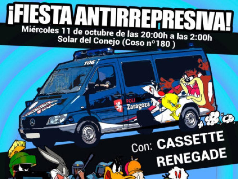 En el cartel aparece una furgoneta de la UAPO de la Policía Local decorada con dibujos animados, al igual que el crucero donde se alojaban miembros de las fuerzas de seguridad en Barcelona.