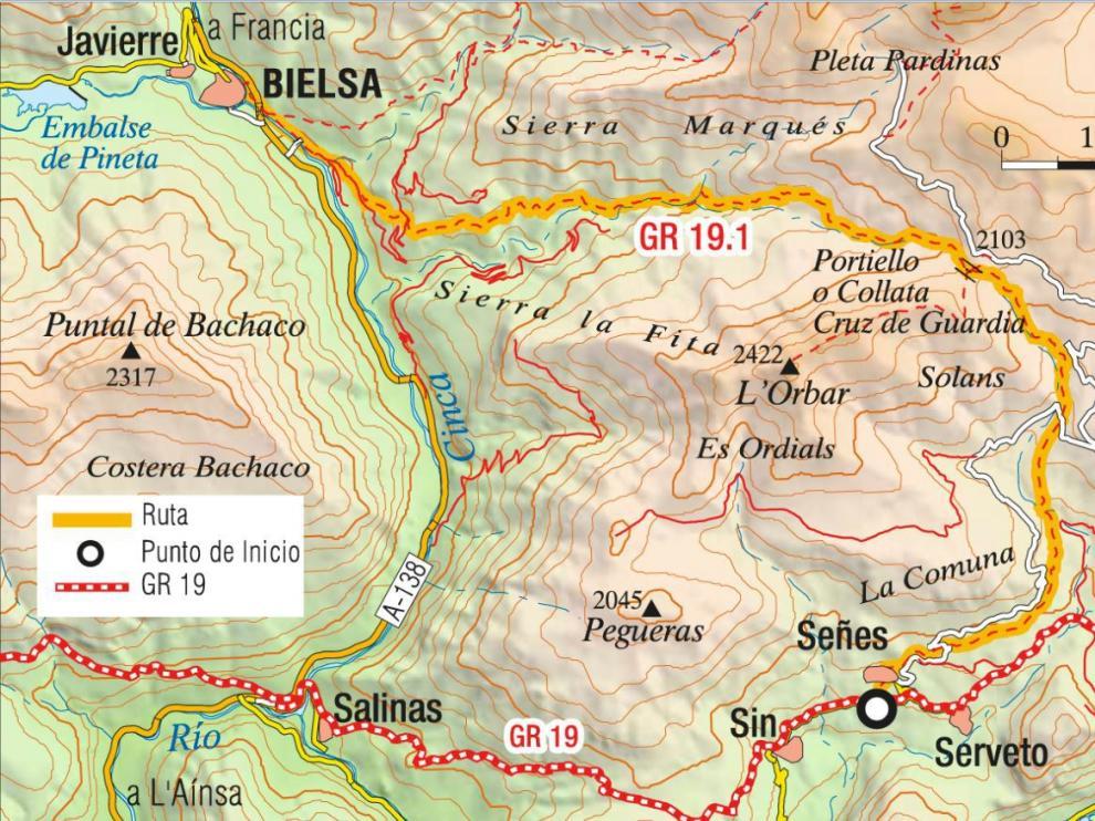 Mapa de la ruta Chistau-Bielsa.