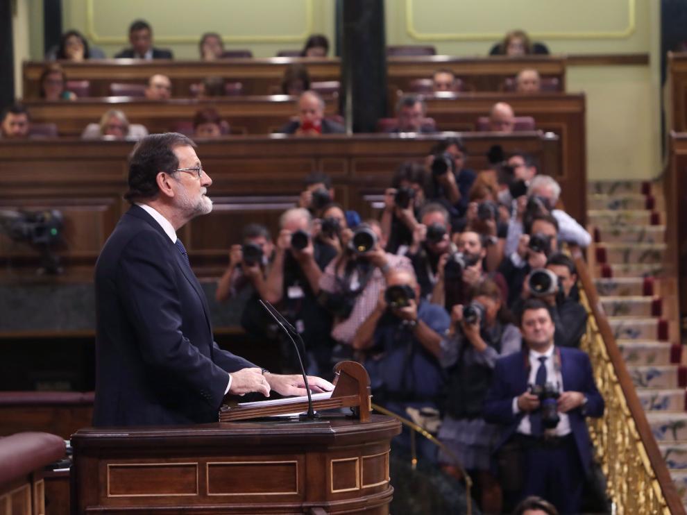 Rajoy, ante el pleno del Congreso.