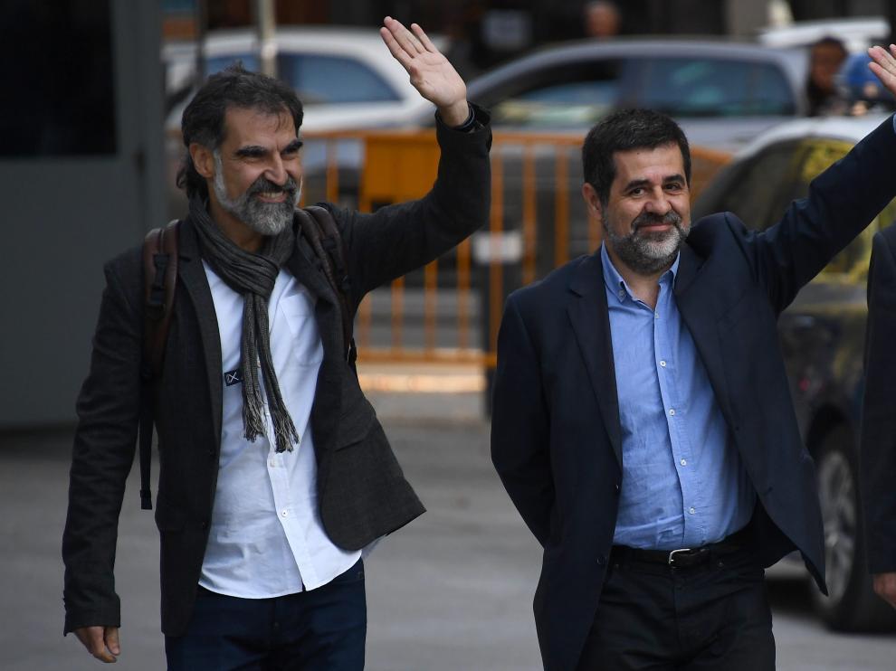 Sànchez y Cuixart a las puertas de la Audiencia Nacional en una imagen de archivo