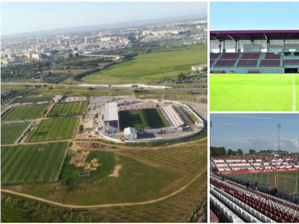 Diferentes vistas del nuevo estadio 'Viejo Nervión', en la Ciudad Deportiva del Sevilla FC, donde juega su filial desde agosto y donde lo hará el Real Zaragoza este sábado.