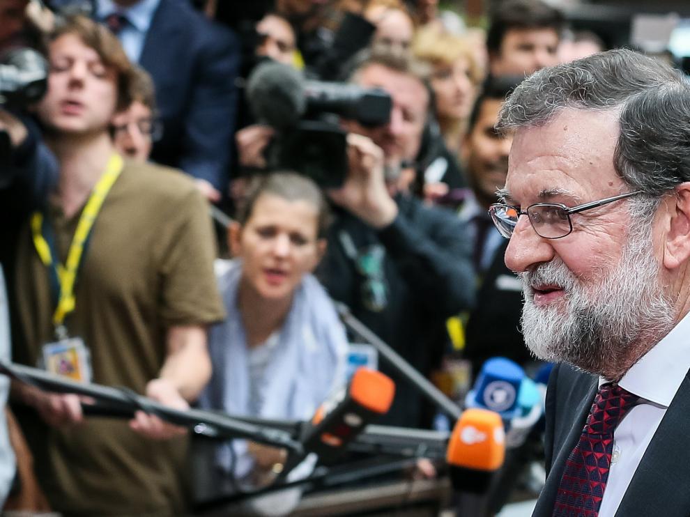 El presidente de España, Mariano Rajoy, a su llegada al inicio de la cumbre del Consejo Europeo en Bruselas