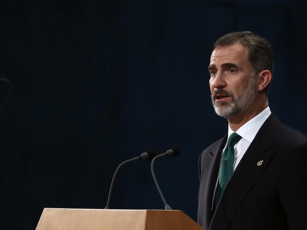 El rey Felipe VI, durante su intervención en los  Premios Princesa de Asturias