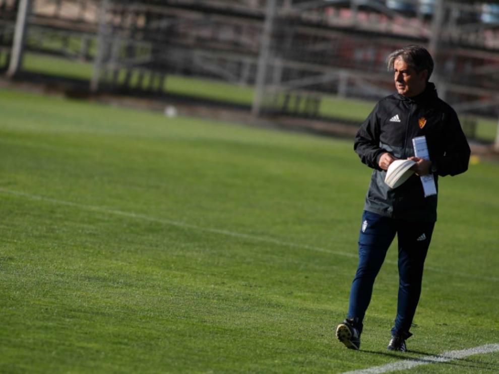Natxo González, en el inicio del entrenamiento.