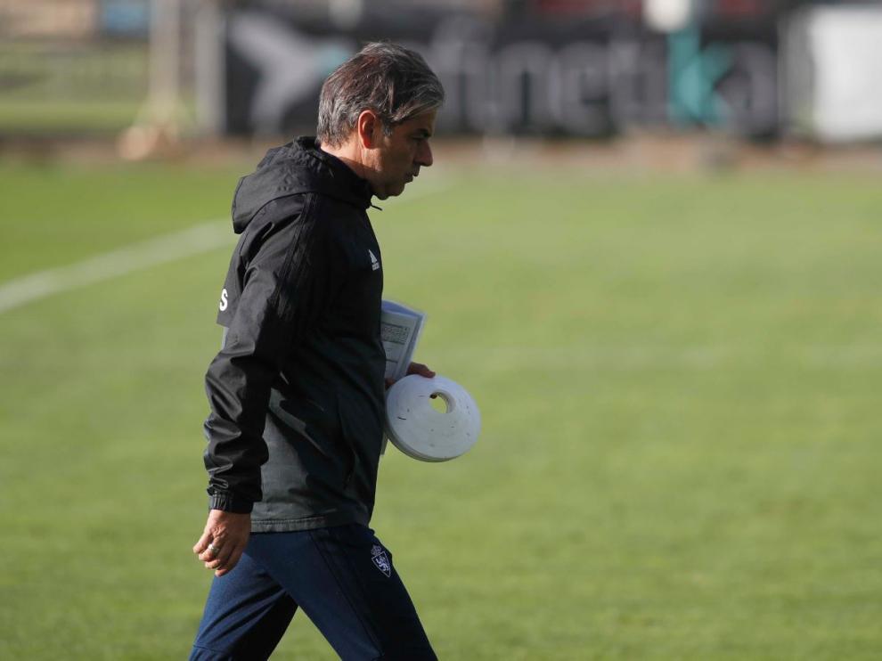 Natxo González, en la Ciudad Deportiva durante el entrenamiento.