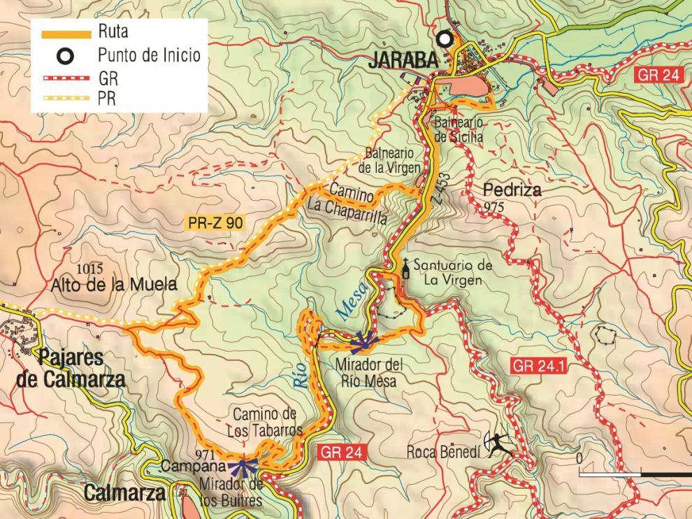 Mapa de la ruta de los balnearios de Jaraba.