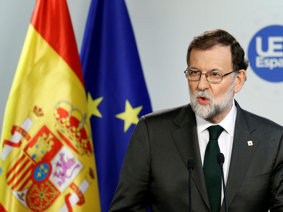 Rajoy, en la rueda de prensa en el marco del Consejo Europeo en Bruselas.