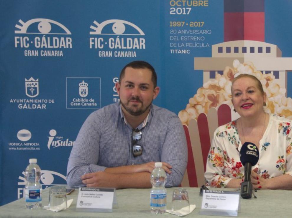 Concha Cuetos, en el centro, en el Festival Internacional de Cine de Gáldar