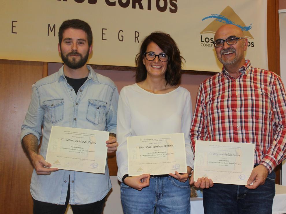 En la foto de los tres ganadores, de izquierda a derecha, Candeira, Armingol y Pulido.