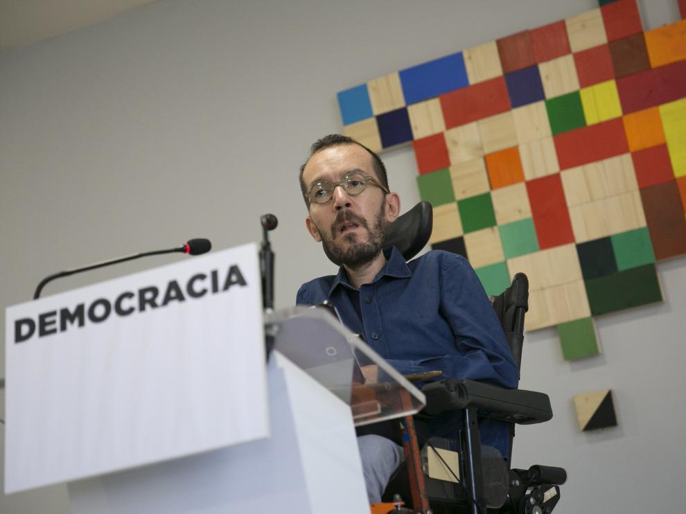 Pablo Echenique, durante la rueda de prensa de este sábado