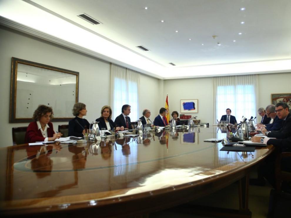 Una imagen de la reunión extraordinaria del Consejo de Ministros de este sábado.