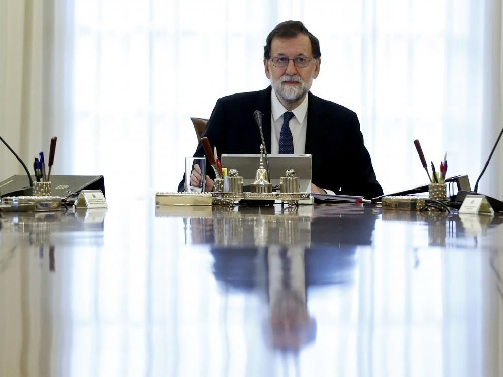 Mariano Rajoy, en el Consejo Extraordinario de Ministros.