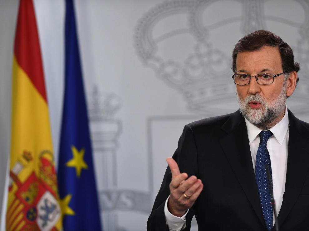 Rajoy durante su comparecencia.