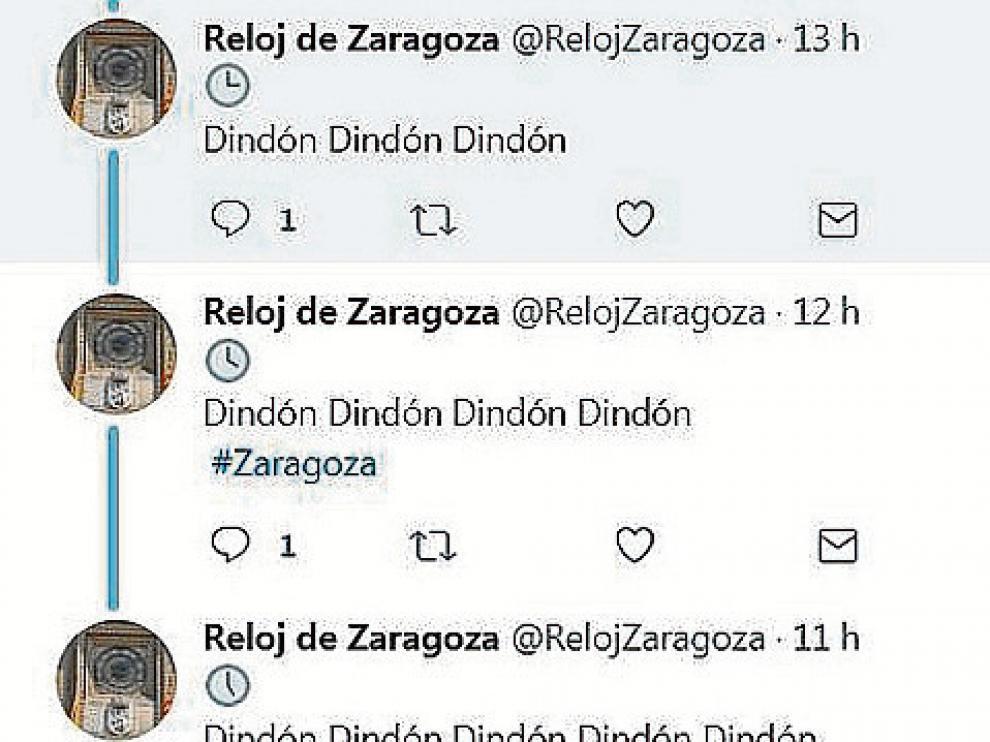 Los tuits de @RelojZaragoza.