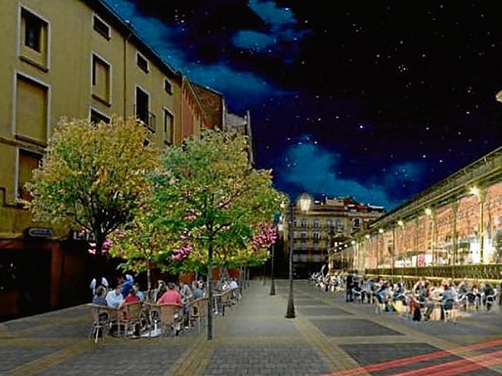 Recreación de cómo quedará el mercado remodelado, con su estructura liviana y acristalada, en una vista nocturna.