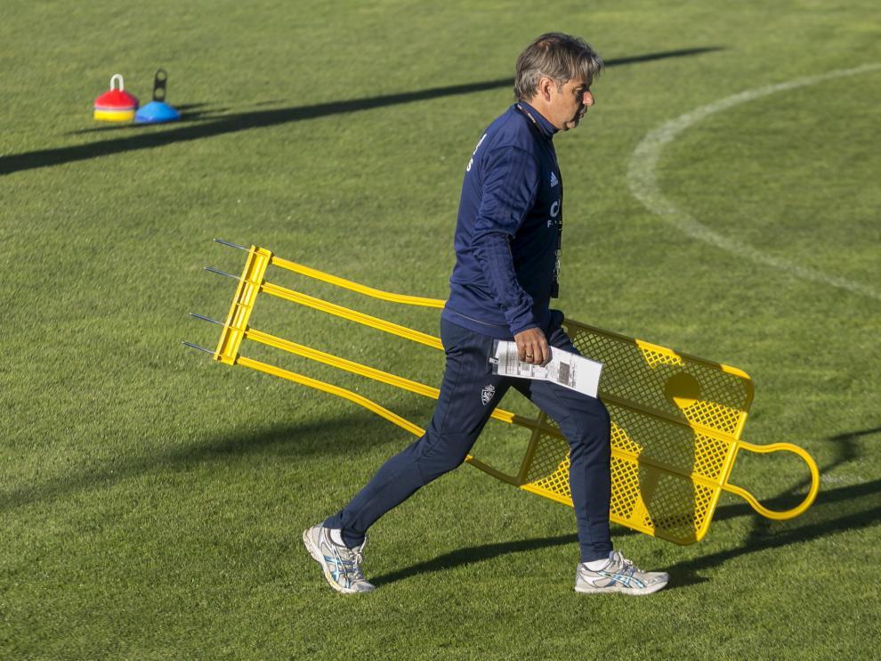 Natxo González, en el entrenamiento en la Ciudad Deportiva.