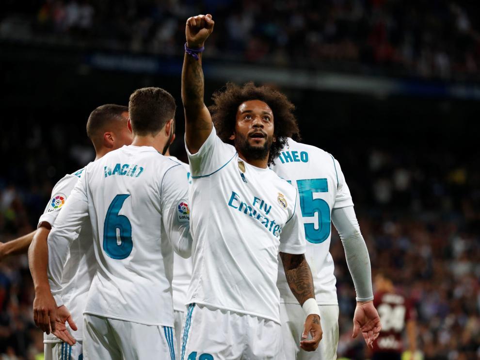 Marcelo celebra uno de los goles.