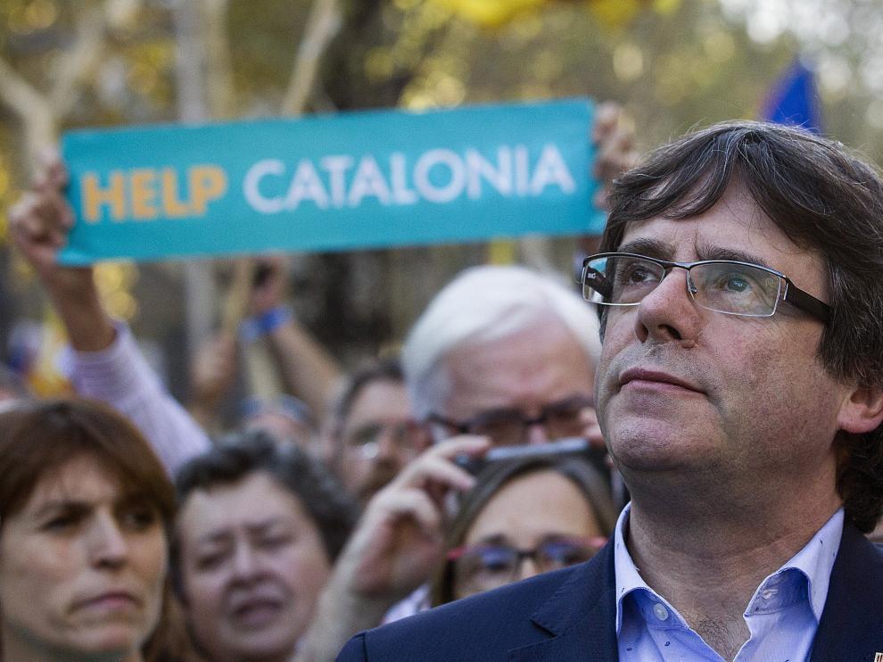 El presidente Puigdemont durante la última manifestación independentista