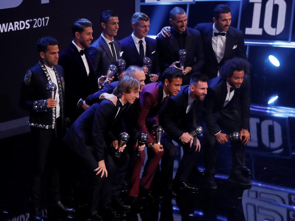 Los once jugadores elegidos esta noche por la FIFA.