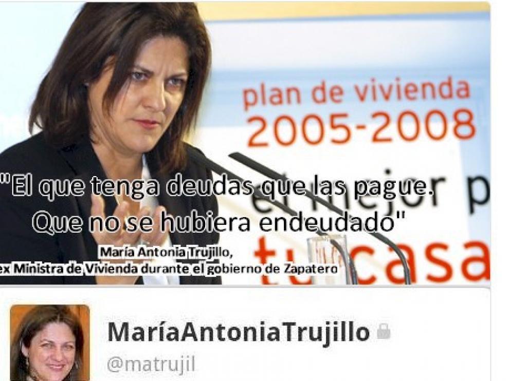 Uno de los tuit más polémicos de la exministra de Vivienda socialista María Antonia Trujillo.