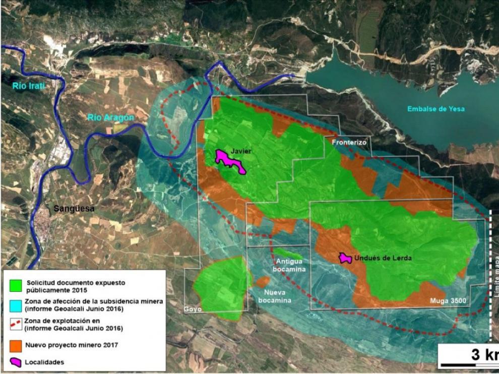 Plano de la extensión nueva realizado por la Plataforma en Contra de las Minas.