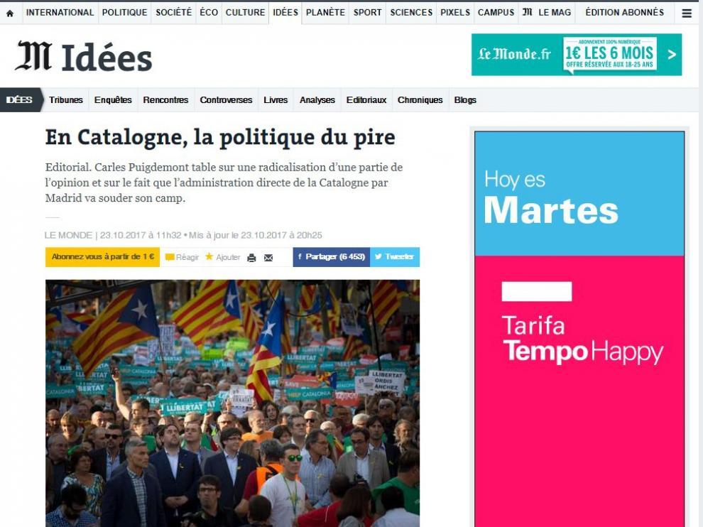 El duro editorial de 'Le Monde' contra Puigdemont y TV3