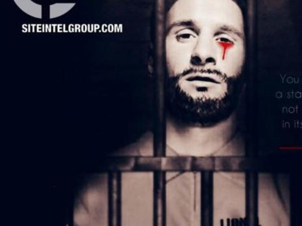Messi, tras unos barrotes y con una lágrima de sangre.