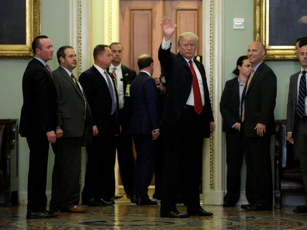 El presidente estadounidense, Donald Trump, este martes en el Capitolio.