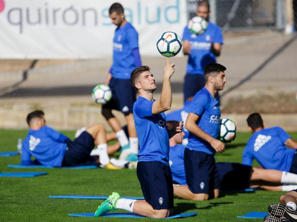 Guti, en un entrenamiento del Real Zaragoza