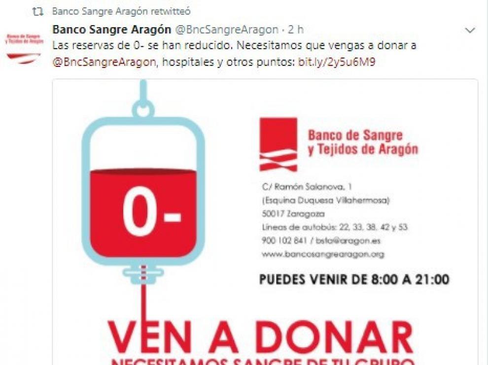 El Banco de Sangre de Aragón llama a donar del grupo 0 negativo