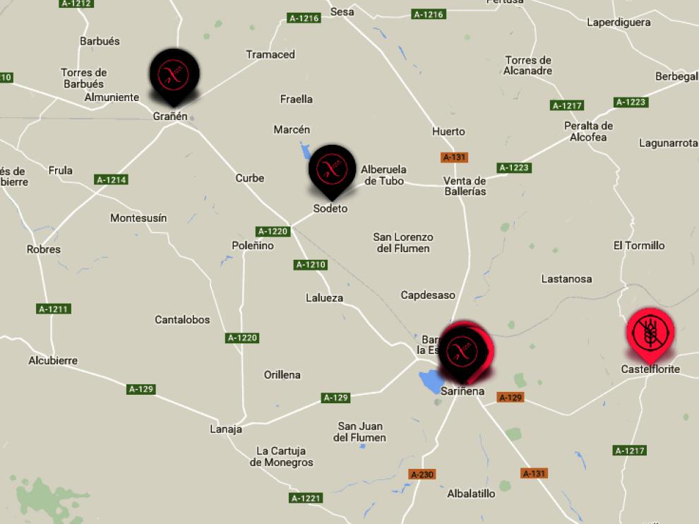 Los inscritos están situados en las localidades de Castelflorite, Sodeto, Grañén y Sariñena.