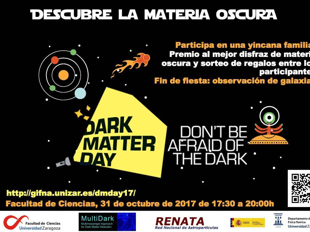 Cartel del Día de la Materia Oscura que se celebra en la Universidad de Zaragoza