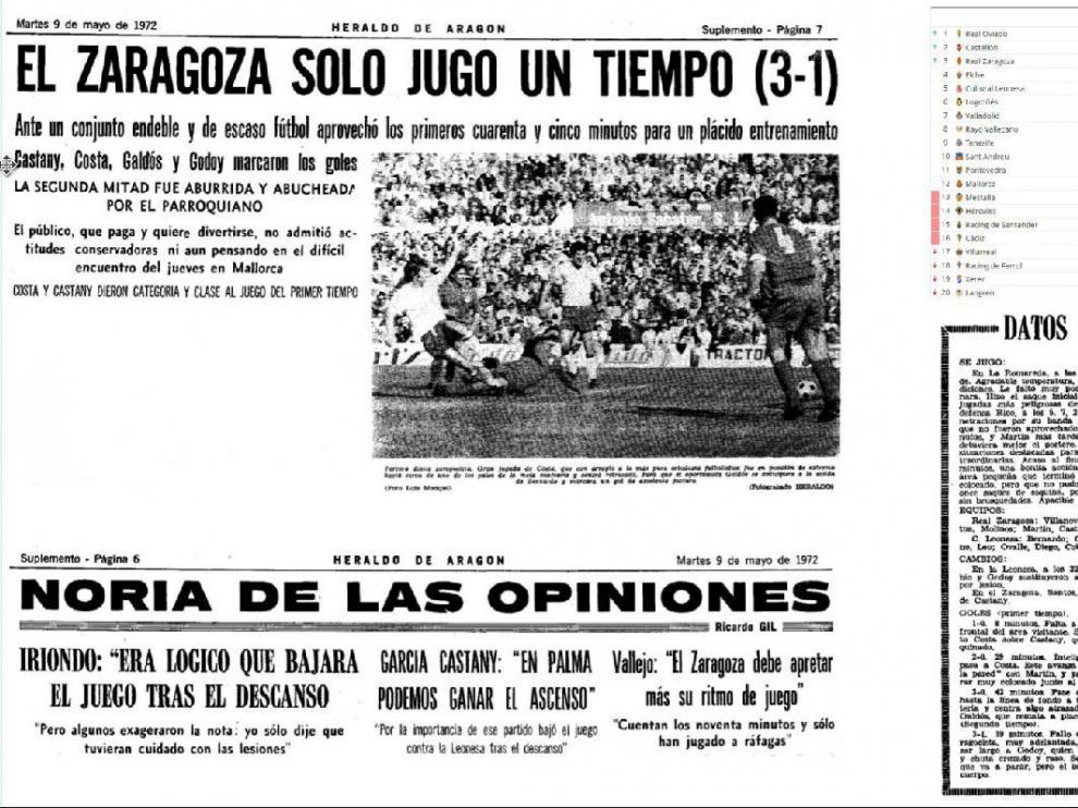 Recortes de HERALDO DE ARAGÓN con la información del último Real Zaragoza-Cultural Leonesa jugado en La Romareda, en mayo de 1975.