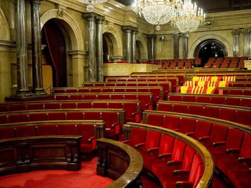 El Parlamento catalán vacío tras el pleno.