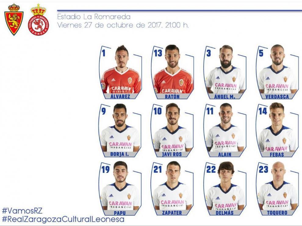 Lista de 18 convocados del Real Zaragoza para el partido de este viernes en La Romareda ante la Cultural Leonesa.