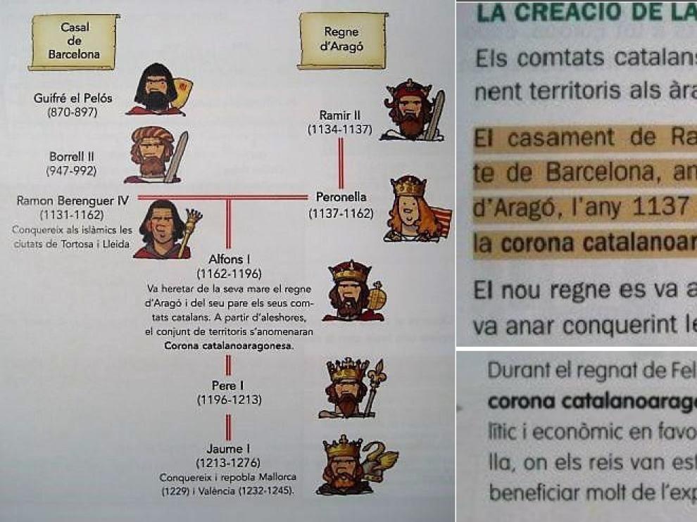 Tres recortes de libros de texto catalanes de los dos últimos cursos de Primaria.