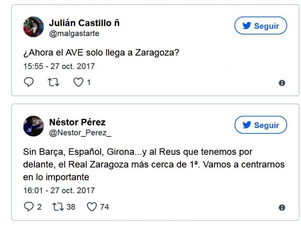 Tuits en las redes sobre la independencia de Cataluña