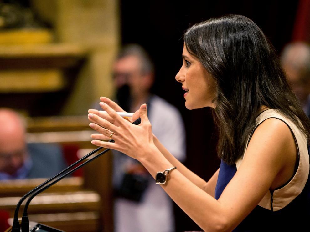 Inés Arrimadas, este jueves en el Parlament catalán.