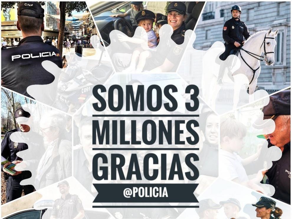 Ha sido en el perfil de Twitter (@policia) donde el cuerpo ha anunciado este logro.