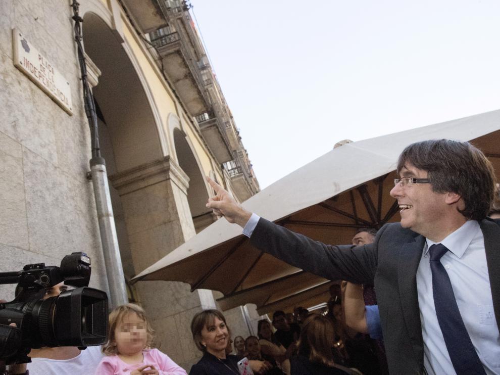 Puigdemont, este sábado en Girona.