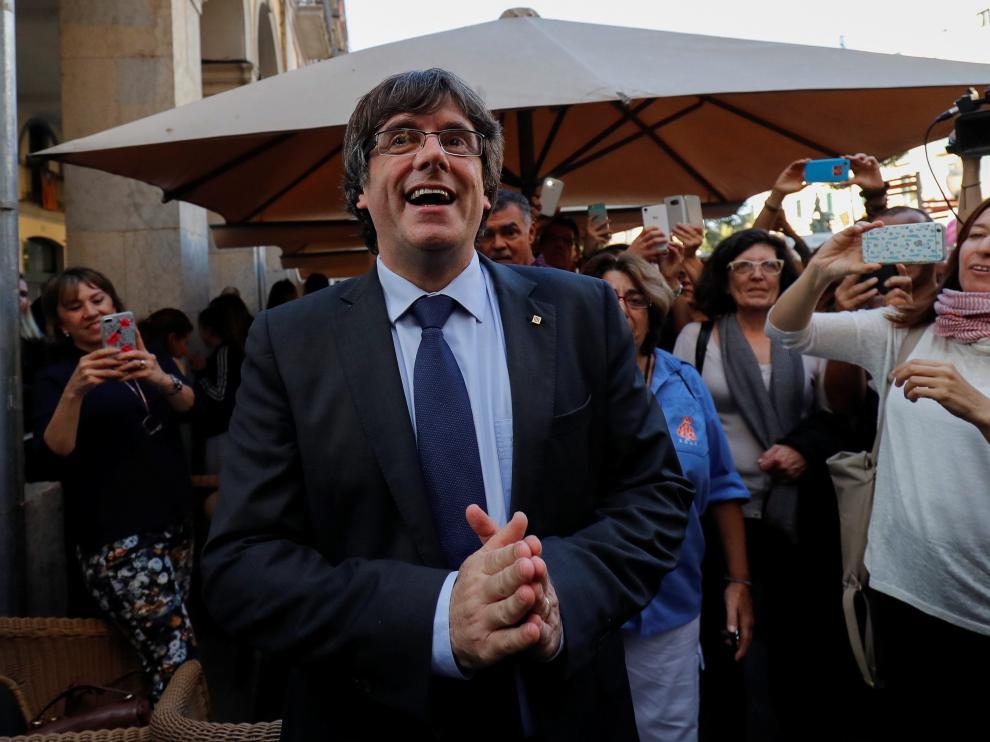 Puigdemont, feliz en Girona