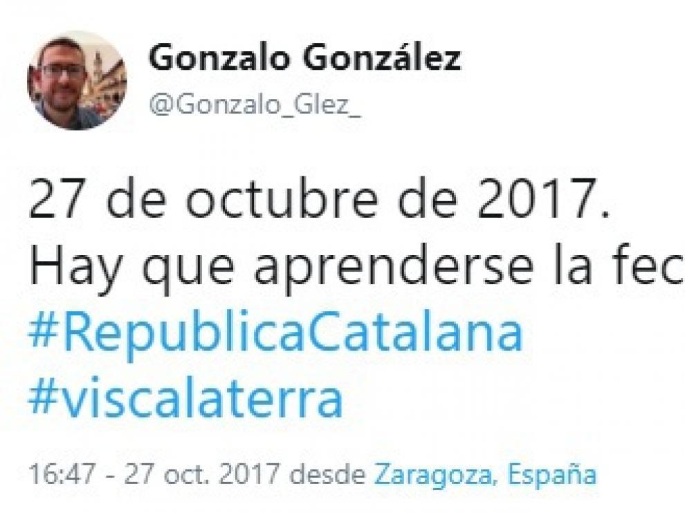 El tuit de Gonzalo González que acabó borrando.