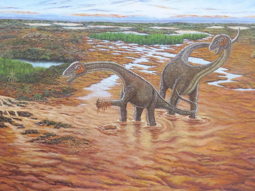 Reconstrucción del paisaje de Utah en el Cretácico Temprano basada en la información del yacimiento Doelling's Bowl: Mierasaurus (en el centro), Iguanocolossus y Yurgovuchia (a la derecha) y un esqueleto de anquilosaurio (a la izquierda).