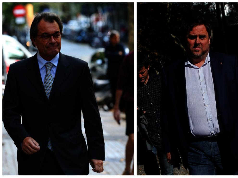Artur Mas y Oriol Junqueras cuando han acudido a las reuniones de sus partidos.