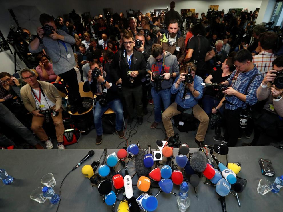 Sala de prensa en la que compareció Puigdemont.