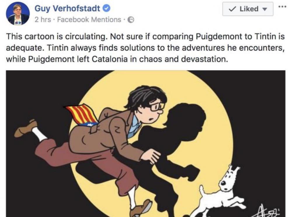 """El jefe de la oposición belga: """"Tintín busca soluciones, Puigdemont deja caos"""""""
