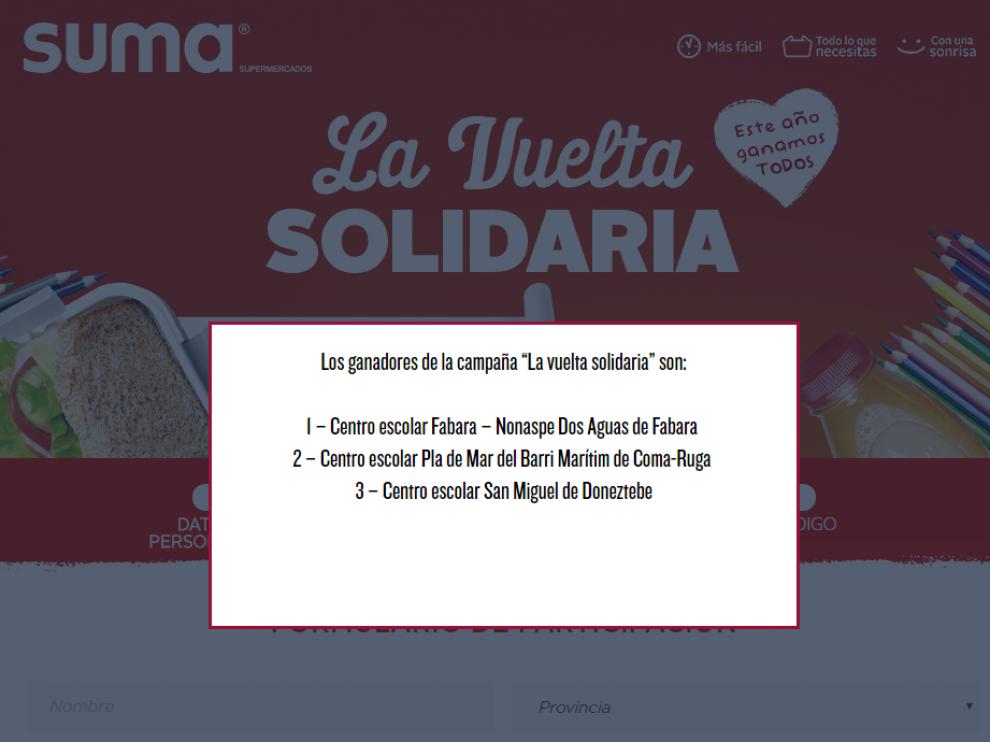 En esta web se votaba a la escuela infantil, de primaria o secundaria, favorita para recibir la donación de la beca comedor, en una acción denominada 'La Vuelta al Cole'.